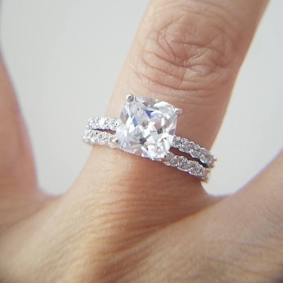 Engagement Ring And Wedding Band.2ct Cushion Cut Engagement Ring Wedding Band 2pc Boutique